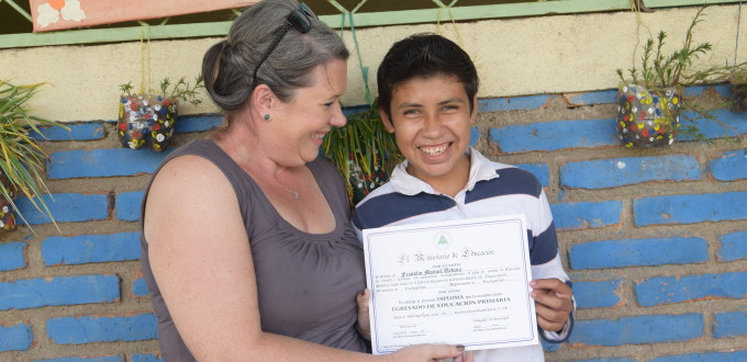 Megan and Francisco - this year Francisco will walk at graduation thank to Enrich Missions.